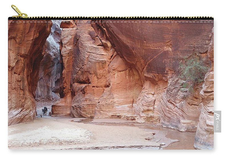 Tranquility Carry-all Pouch featuring the photograph Hikers Entering Buckskin Gulch From by Photograph By Michael Schwab