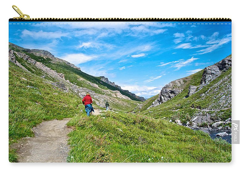 Hiking On Savage River Trail In Denali Np Carry-all Pouch featuring the photograph Hiking On Savage River Trail In Denali Np-ak  by Ruth Hager