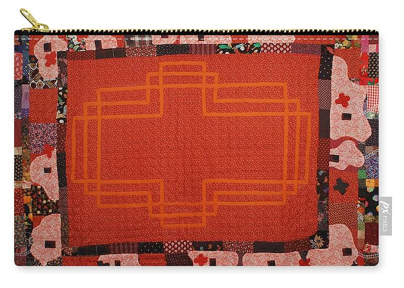 Quilt Fabric Sewn Orange Patchwork Quilted Pattern Original White Birds Red-orange Carry-all Pouch featuring the tapestry - textile Hildegard by Nancy Mauerman