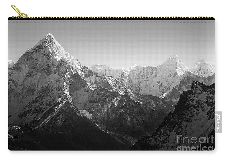 Landscape Carry-all Pouch featuring the photograph Himalaya Mountains Black And White by Tim Hester