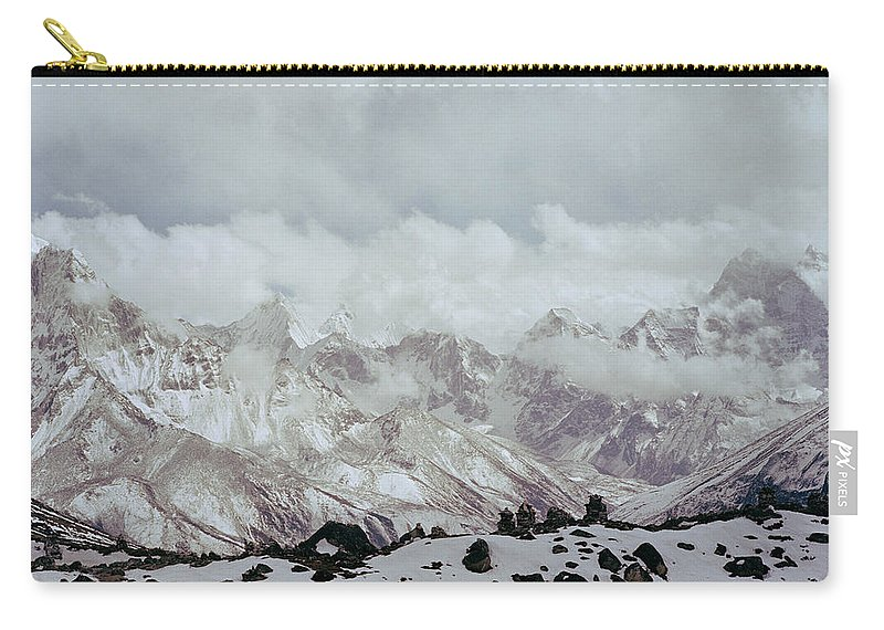 Himalayan Mountain Carry-all Pouch featuring the photograph Himalayan Sherpa Memorial by Shaun Higson