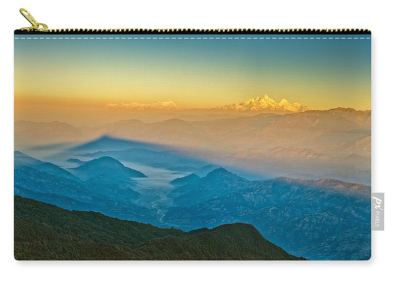 Fog Carry-all Pouch featuring the photograph Himalayan Mountains View From Mt. Shivapuri by U Schade