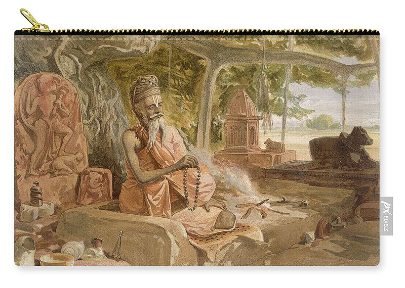 Indian Carry-all Pouch featuring the drawing Hindu Fakir, From India Ancient by William 'Crimea' Simpson