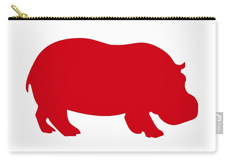 Graphic Art Carry-all Pouch featuring the digital art Hippo In Red And White by Jackie Farnsworth