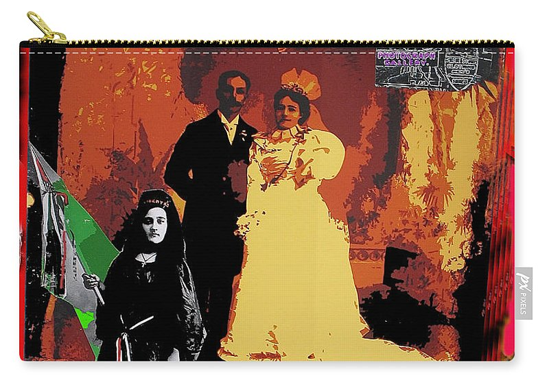 Hispanic Wedding Libertad Lady Photo Gallery Collage 1880 Color Added Carry-all Pouch featuring the photograph Hispanic Wedding Libertad Lady Photo Gallery Collage 1880-2010 by David Lee Guss