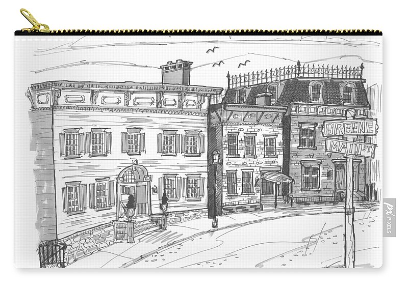 Catskill Carry-all Pouch featuring the drawing Historic Catskill Street by Richard Wambach