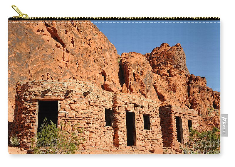 Civilian Conservation Corps Carry-all Pouch featuring the photograph Historic Civilian Conservation Corps Stone Cabins In The Valley Of Fire by Gary Whitton
