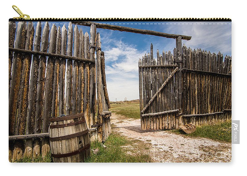 Fort Bridger Carry-all Pouch featuring the photograph Historic Fort Bridger Gate - Wyoming by Gary Whitton