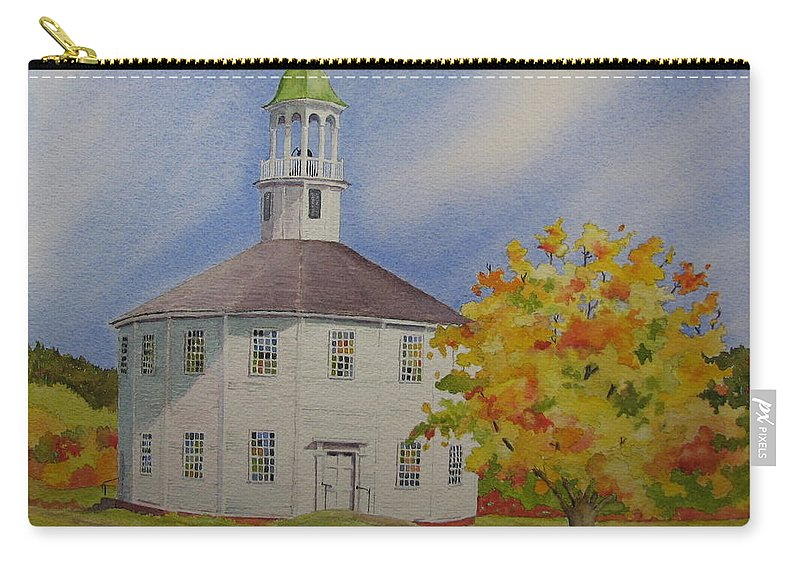 Richmond Carry-all Pouch featuring the painting Historic Richmond Round Church by Mary Ellen Mueller Legault