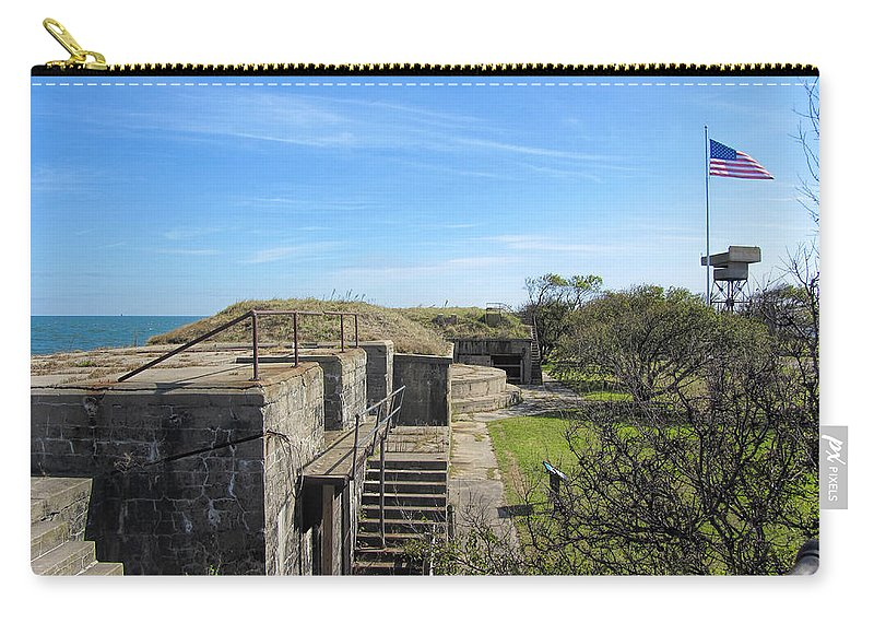 Fort Wool Carry-all Pouch featuring the photograph Historical Fort Wool Virginia Landmark by Kathy Clark