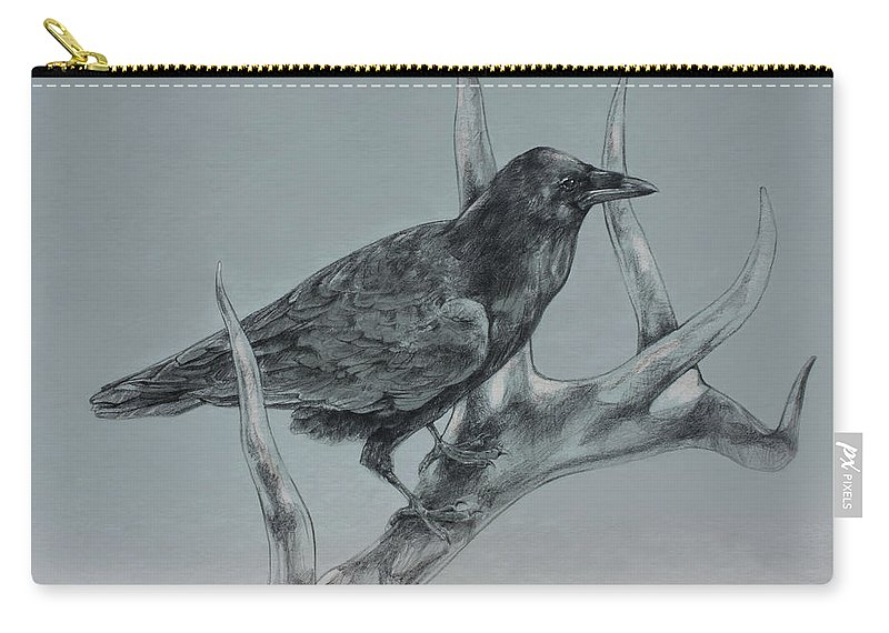 Elk Carry-all Pouch featuring the drawing Hitchhiker Drawing by Derrick Higgins