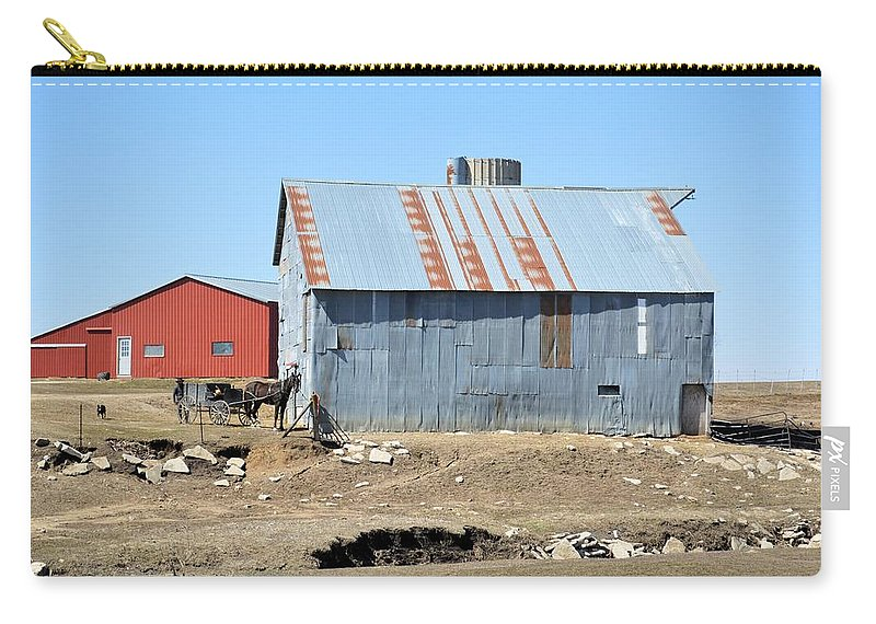Amish Carry-all Pouch featuring the photograph Hitching The Wagon by Bonfire Photography