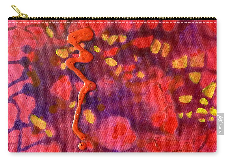 Red Abstract Carry-all Pouch featuring the painting Hive by Nancy Merkle