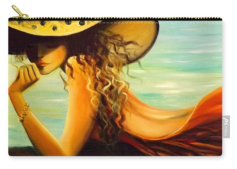 Hat Carry-all Pouch featuring the painting Hmmmmmm by Gina De Gorna
