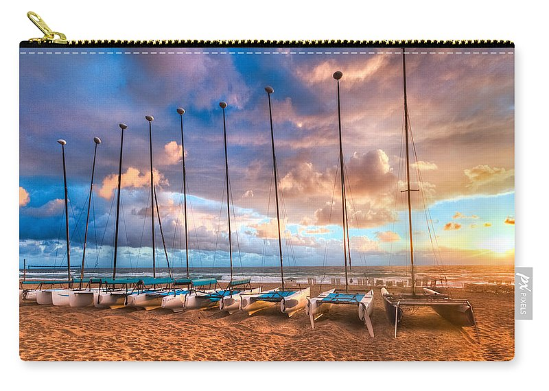 Boats Carry-all Pouch featuring the photograph Hobe-cats by Debra and Dave Vanderlaan