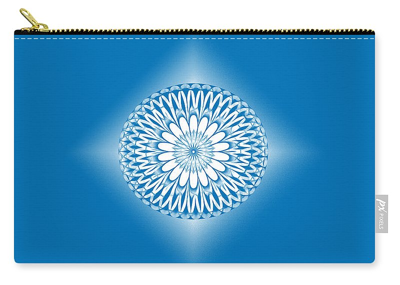Hoberman Sphere Blue Carry-all Pouch featuring the digital art Hoberman Sphere Blue by Methune Hively
