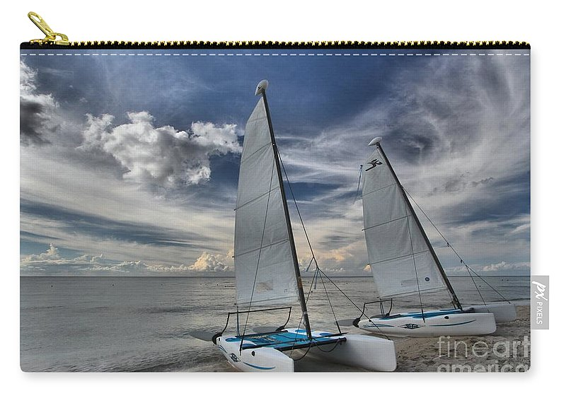 Caribbean Ocean Carry-all Pouch featuring the photograph Hobie Cats On The Caribbean by Adam Jewell