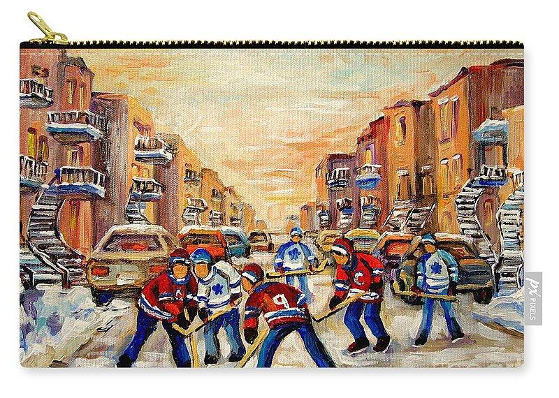 Hockey Daze Carry-all Pouch featuring the painting Hockey Daze by Carole Spandau