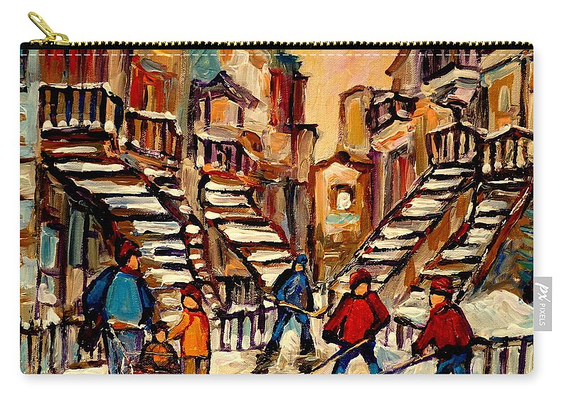 Montreal Carry-all Pouch featuring the painting Hockey Game Near Winding Staircases Montreal Streetscene by Carole Spandau