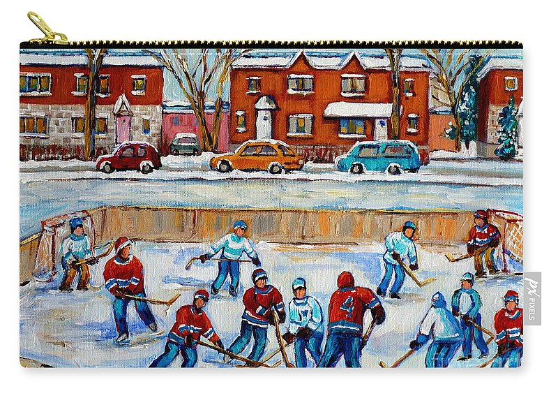 Hockey At Van Horne Montreal Carry-all Pouch featuring the painting Hockey Rink At Van Horne Montreal by Carole Spandau