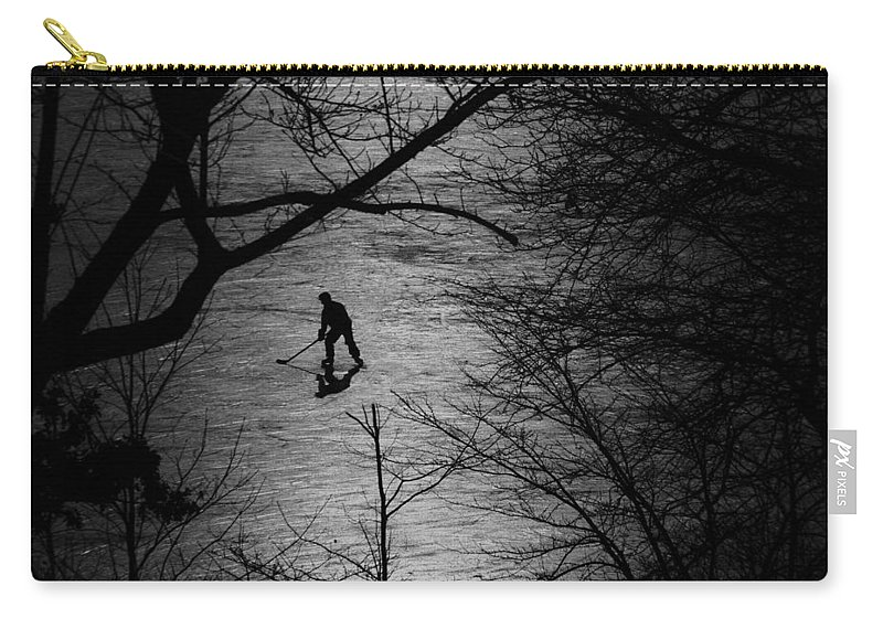 Hockey Carry-all Pouch featuring the photograph Hockey Silhouette by Andrew Fare