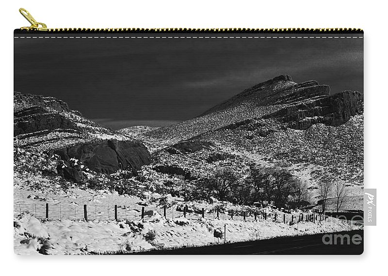 Colorado Carry-all Pouch featuring the photograph Hogbacks In The Snow by Jon Burch Photography