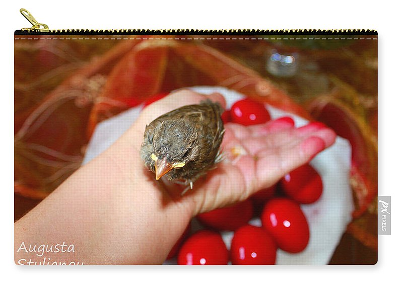 Augusta Stylianou Carry-all Pouch featuring the photograph Holding A Newborn Bird by Augusta Stylianou