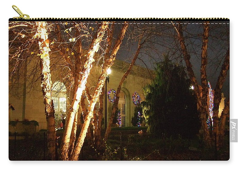Carry-all Pouch featuring the photograph Holiday Birches by Katerina Naumenko