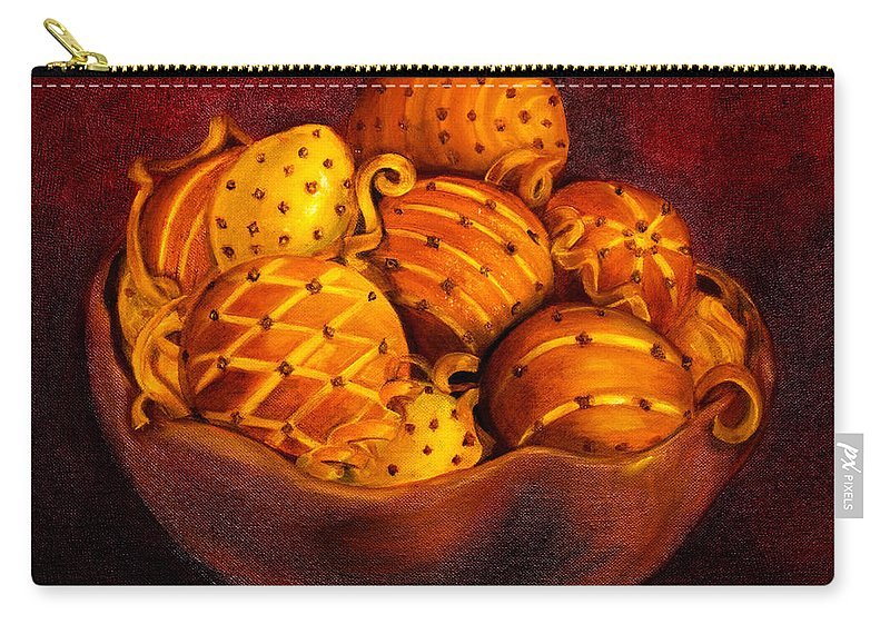 Bowl Carry-all Pouch featuring the painting Holiday Citrus Bowl by Iris Richardson