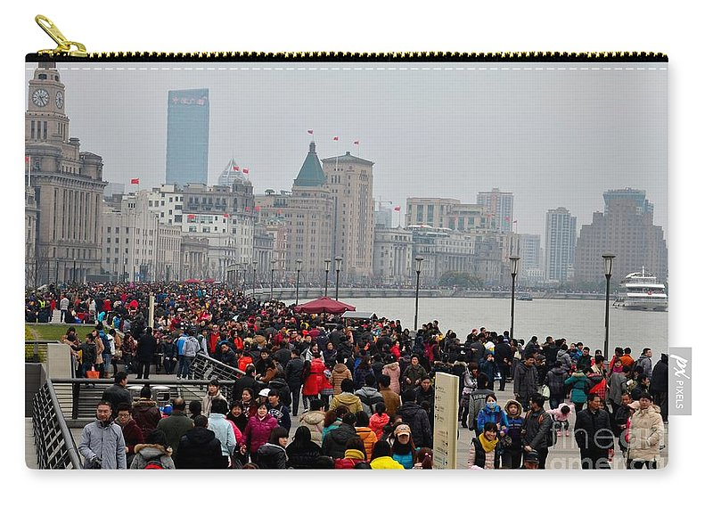 Bund Carry-all Pouch featuring the photograph Holiday Crowds Throng The Bund In Shanghai China by Imran Ahmed