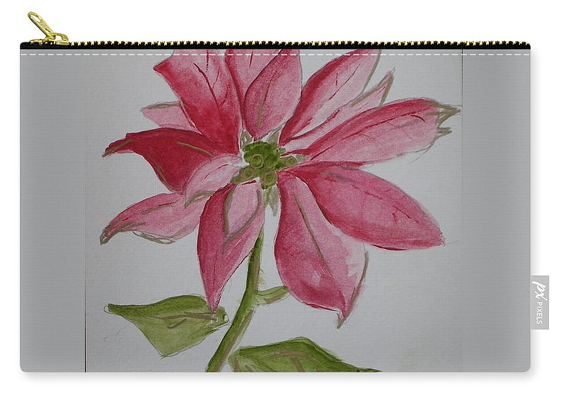 Flower Christmas Carry-all Pouch featuring the painting Holiday Flower by Patricia Caldwell