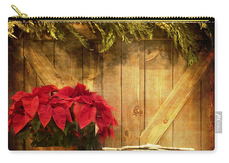 Christmas; Country; Newspaper; Sign; Vintage; Wood; Home; Business; Flowers; House; Red; Wooden; Holiday; Pile; Seasonal; Brown; Table; Garland; Greenery; Christmastime; Store; Poinsettia Carry-all Pouch featuring the photograph Holiday News by Margie Hurwich