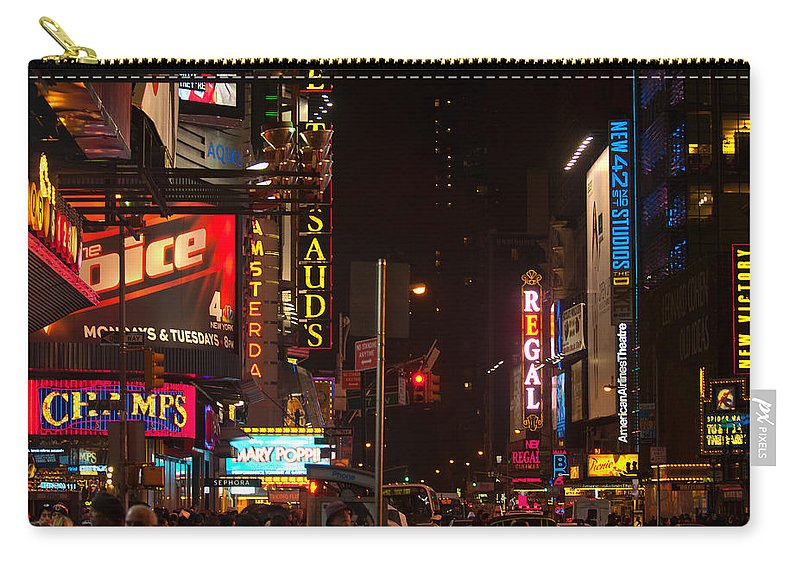 """new York City"" Carry-all Pouch featuring the photograph Holiday Rush by Paul Mangold"