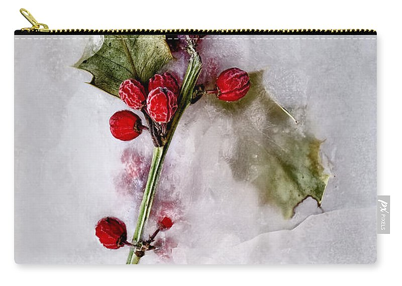 Holly; Berries; Leaves; Plant; Season; Winter; Seasonal; Christmas; Frozen; Winter; Ice; Cold; Dead; Death; Green; Red; Branch; Stem; Leaves; Frost Carry-all Pouch featuring the photograph Holly by Margie Hurwich