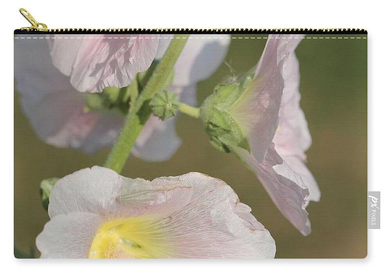 Mccombie Carry-all Pouch featuring the photograph Hollyhock Named Indian Spring Pink by J McCombie