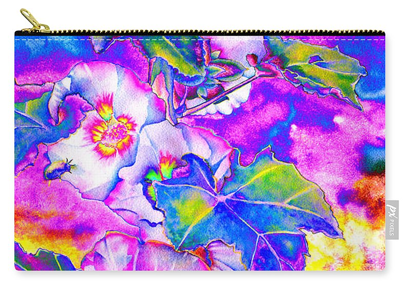 Watercolor Digital Sunflower Carry-all Pouch featuring the painting Hollyhock Solar by H Cooper