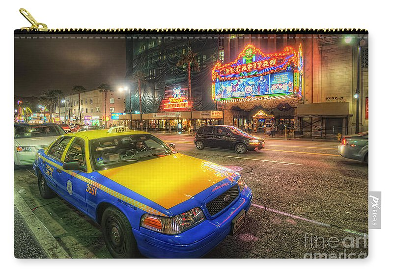Yhun Suarez Carry-all Pouch featuring the photograph Hollywood Taxi by Yhun Suarez