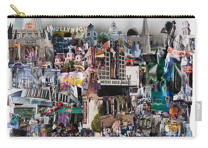 California Carry-all Pouch featuring the mixed media Hollywood Tourist by Jaime Becker