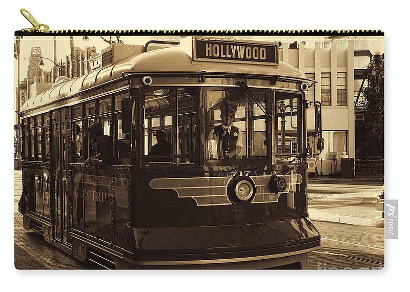 Buena Vista Street Carry-all Pouch featuring the photograph Hollywood Trolley by Tommy Anderson