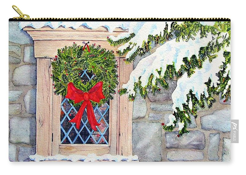Holidays Carry-all Pouch featuring the painting Home For The Holidays by Mary Ellen Mueller Legault