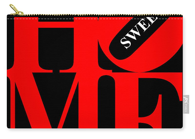 Home Carry-all Pouch featuring the digital art Home Sweet Home 20130713 Red Black White by Wingsdomain Art and Photography