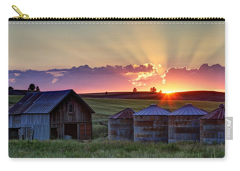Cheney Carry-all Pouch featuring the photograph Home Town Sunset by Mark Kiver