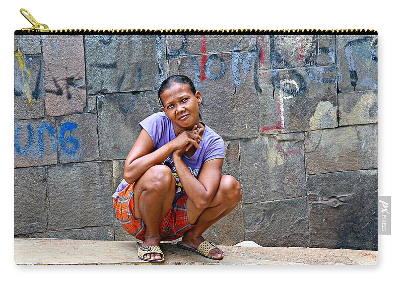 Jakarta Carry-all Pouch featuring the photograph Homeless In Indonesia by Paul Fell
