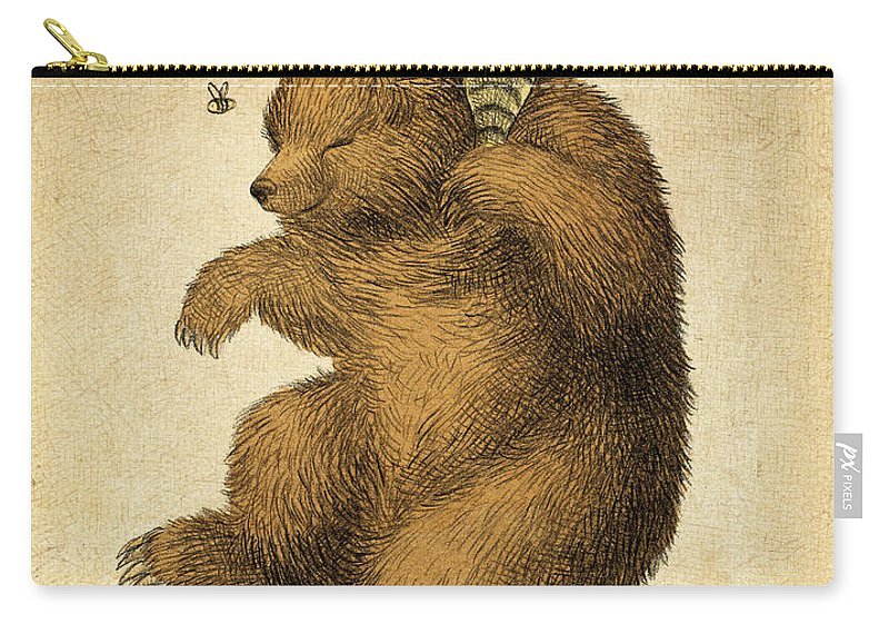 Bear Carry-all Pouch featuring the drawing Honey Bear by Eric Fan