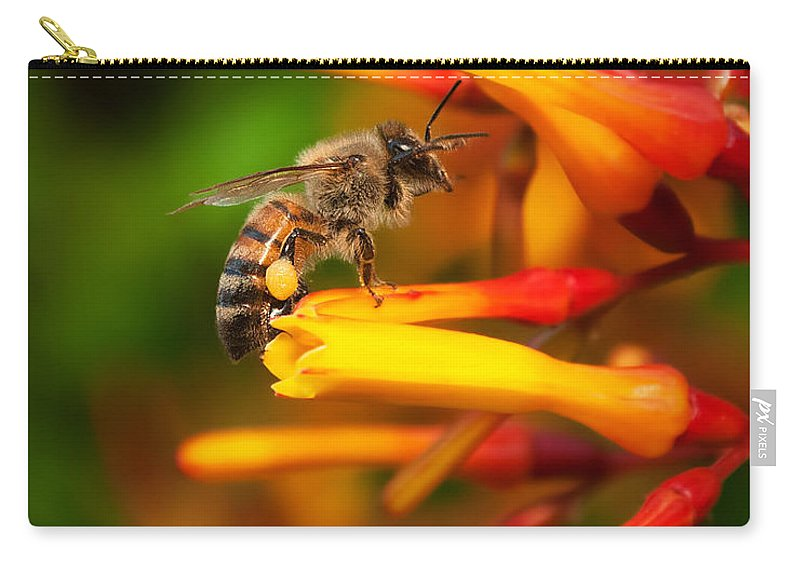 Black Carry-all Pouch featuring the photograph Honey Bee 4 by Photos By Cassandra