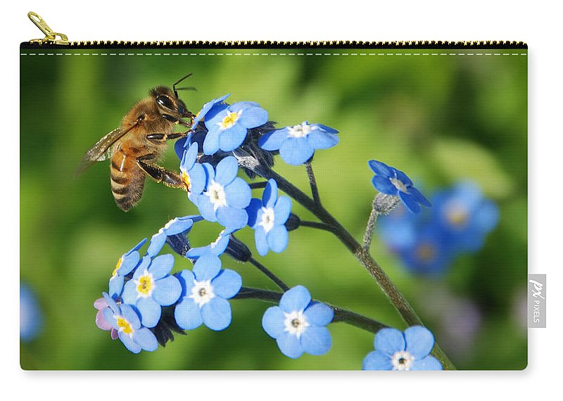 Animal Carry-all Pouch featuring the photograph Honey Bee On Forget-me-not Flowers by Marv Vandehey