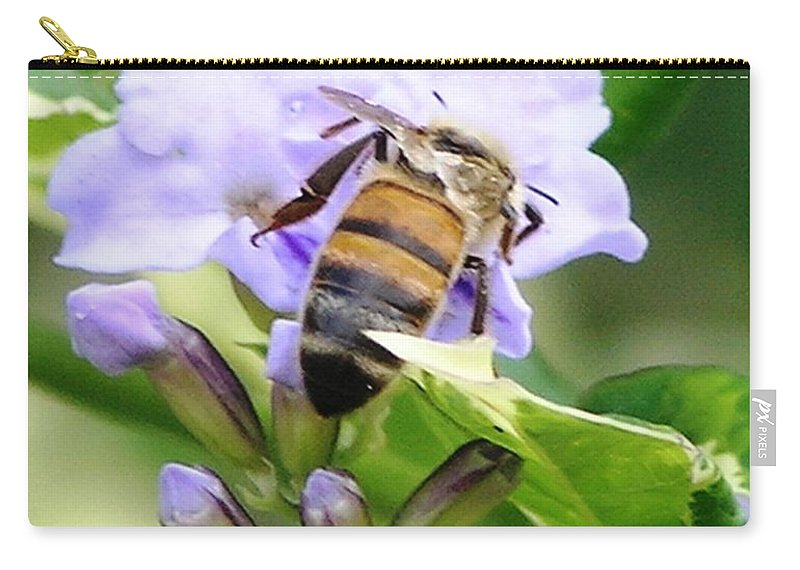 Purple Flower Carry-all Pouch featuring the photograph Honey Bee On Lavender Flower by Mary Deal
