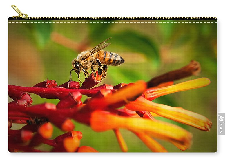 Black Carry-all Pouch featuring the photograph Honey Bee Profile by Photos By Cassandra