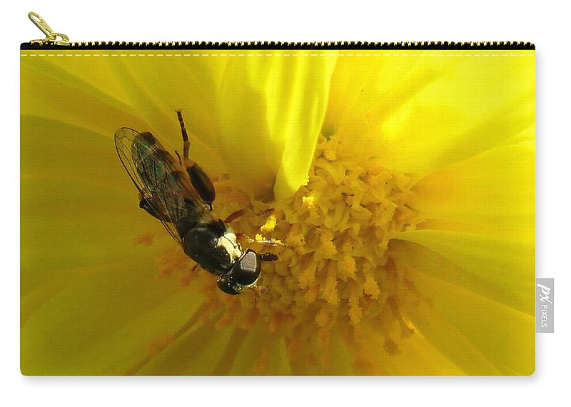 Wallpaper Buy Art Print Phone Case T-shirt Beautiful Duvet Case Pillow Tote Bags Shower Curtain Greeting Cards Mobile Phone Apple Android Nature Honey Bee On Sunflower Honey Bee Yellow Flower Wildlife Macro Closeup Salman Ravish Khan Carry-all Pouch featuring the photograph Honey Bee On Sunflower by Salman Ravish
