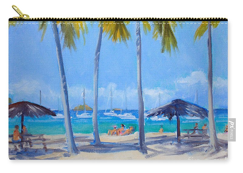Island Carry-all Pouch featuring the painting Honey Moon Beach Day by Candace Lovely